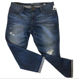 Gap Sexy Boyfriend Fit Distressed Med Wash Cuffed Ankle Jeans Size 16 NWT